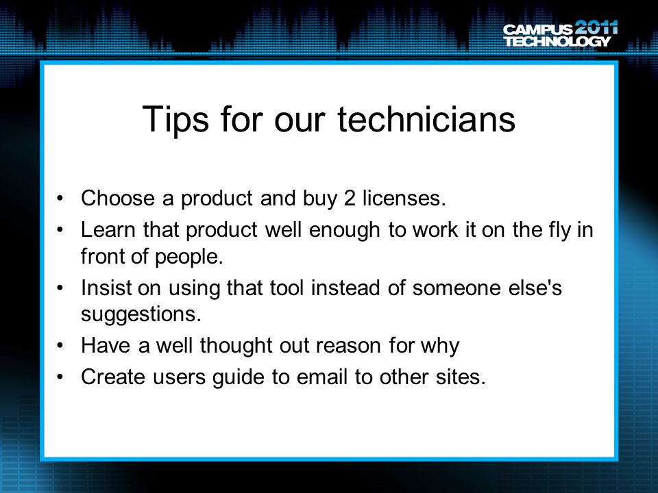 Tips for our technicians