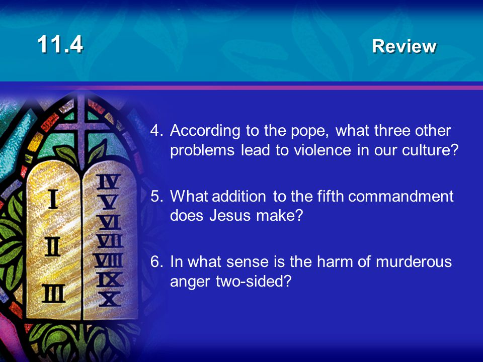 11.4 Review 4. According to the pope, what three other problems lead to violence in our culture