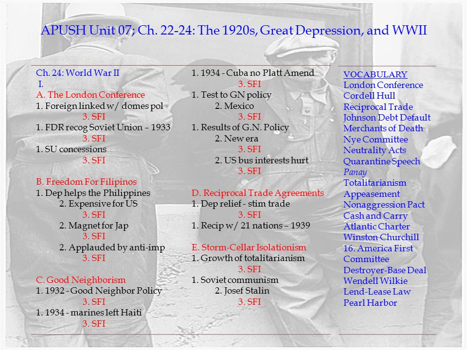 APUSH Unit 07 Ch The 1920s Great Depression And WWII