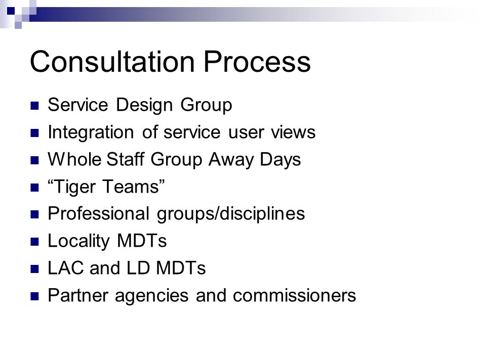 Consultation Process Service Design Group