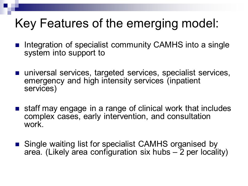 Key Features of the emerging model: