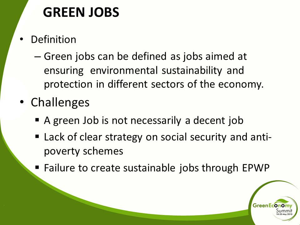 GREEN JOBS Challenges Definition