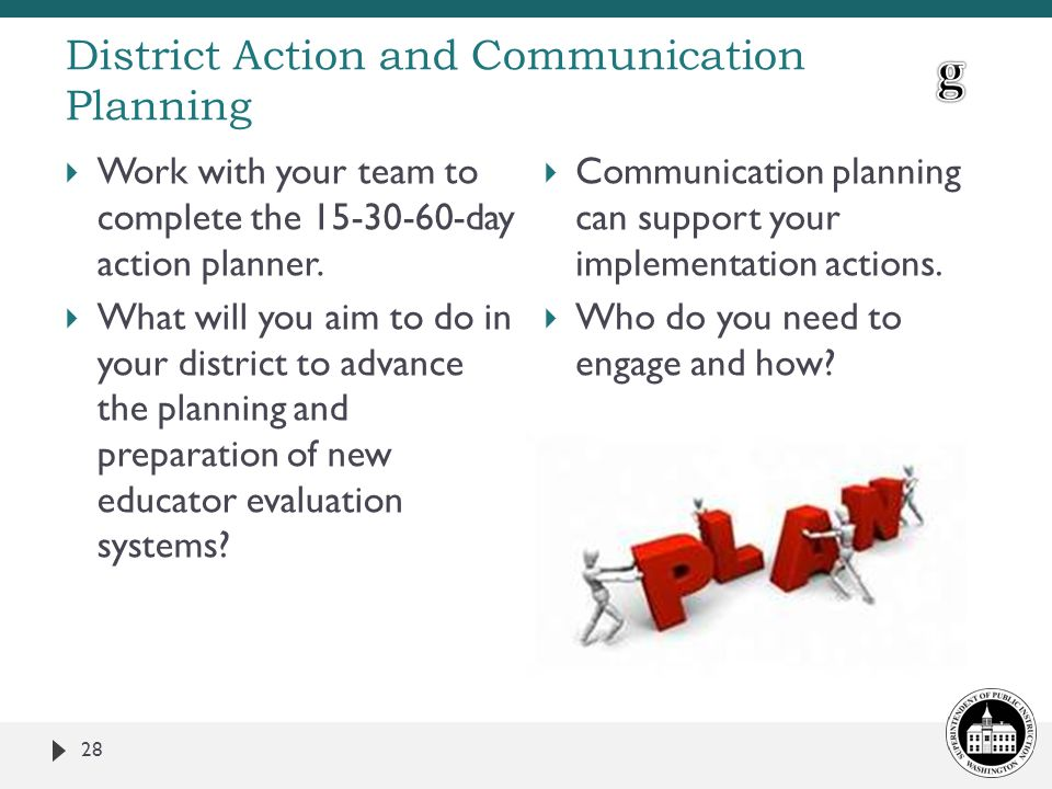 District Action and Communication Planning