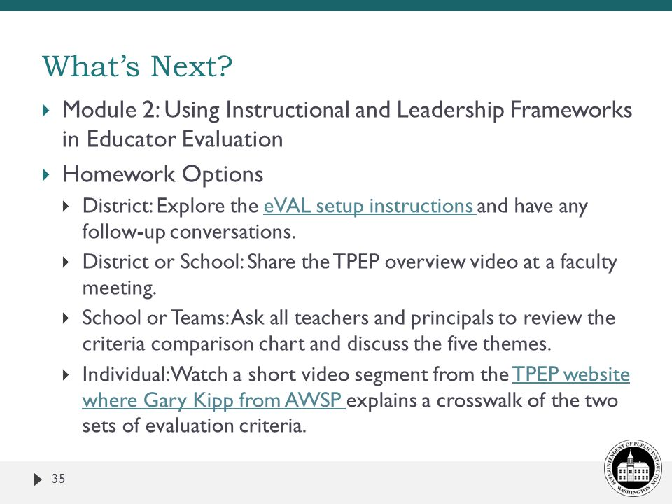 What's Next Module 2: Using Instructional and Leadership Frameworks in Educator Evaluation. Homework Options.