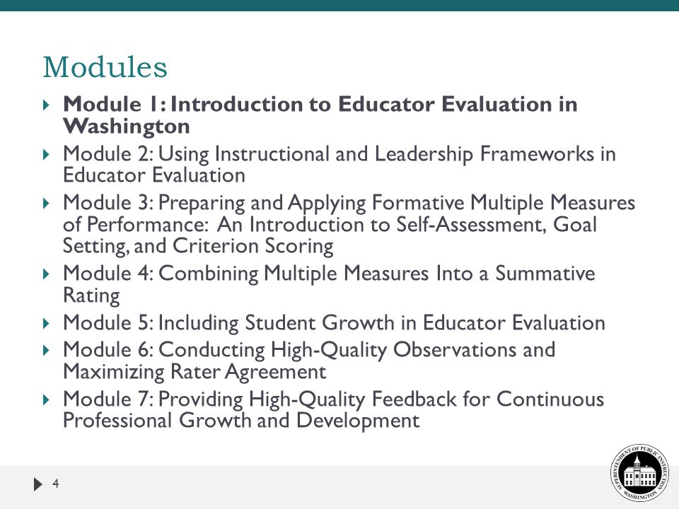 Modules Module 1: Introduction to Educator Evaluation in Washington