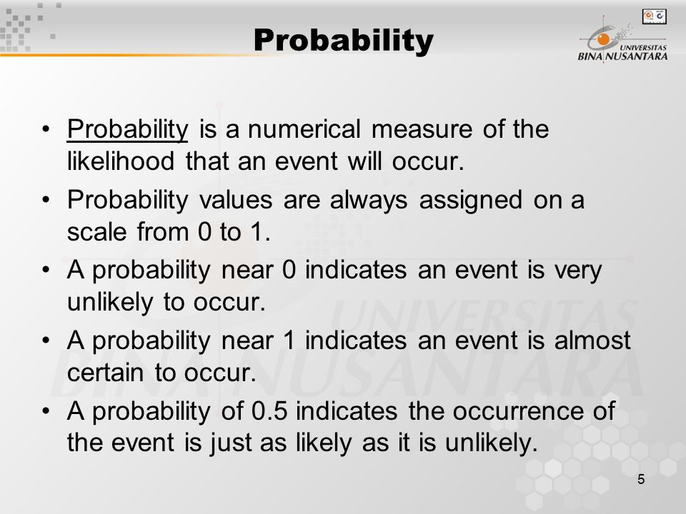 Probability Probability is a numerical measure of the likelihood that an event will occur.