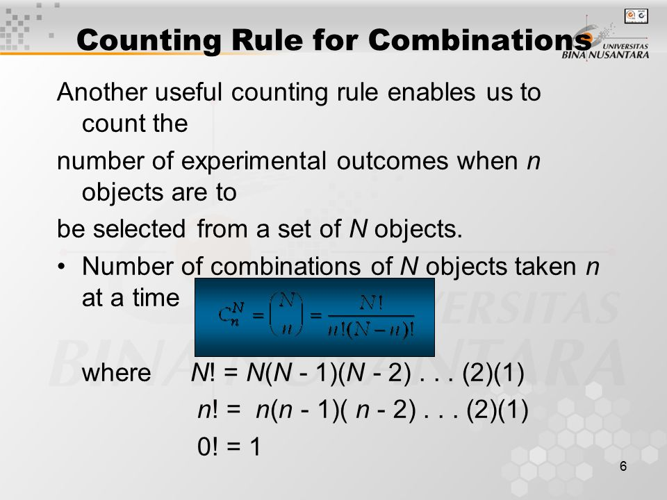 Counting Rule for Combinations