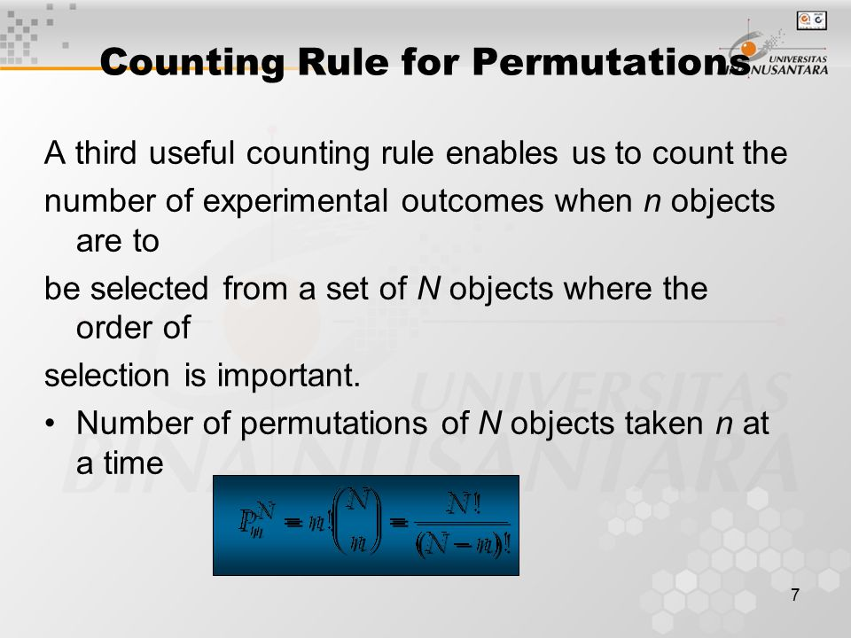 Counting Rule for Permutations