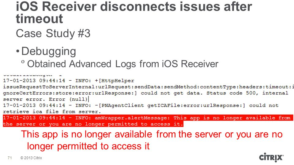 SUM405: Troubleshooting and Debugging Receiver for iOS and