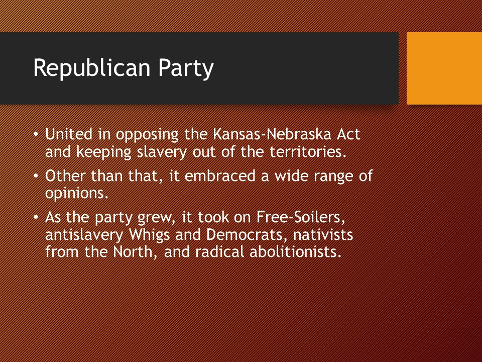 Republican Party United in opposing the Kansas-Nebraska Act and keeping slavery out of the territories.