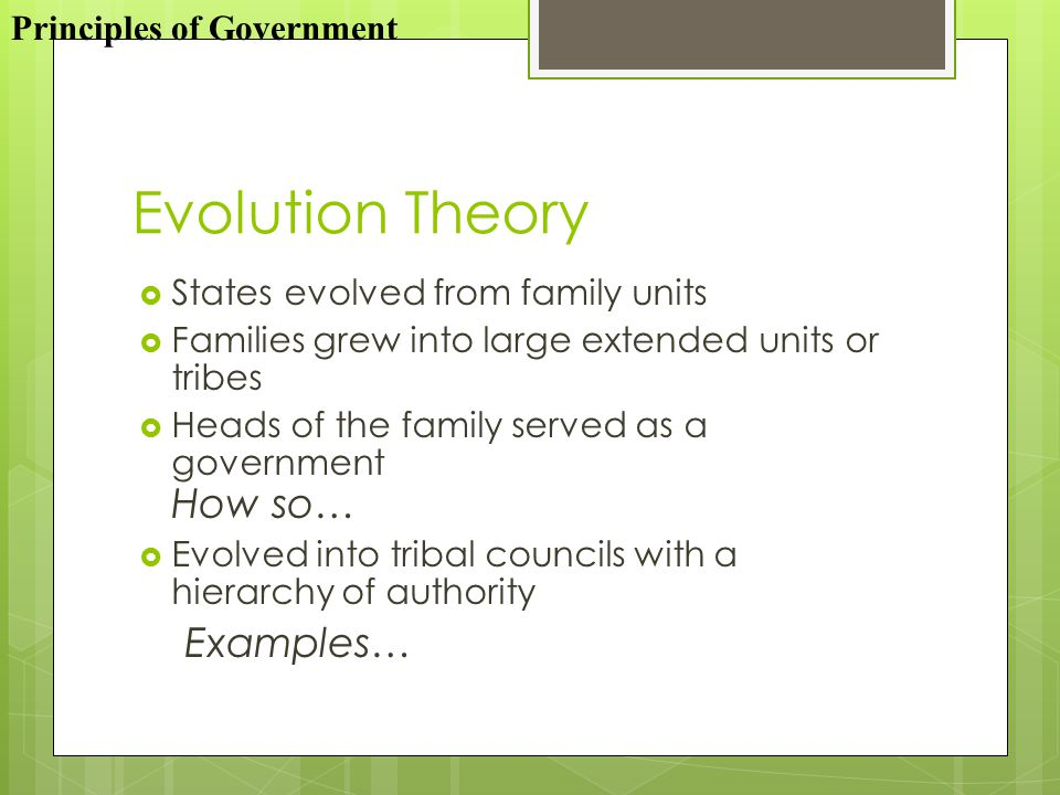 Evolution Theory Examples… Principles of Government