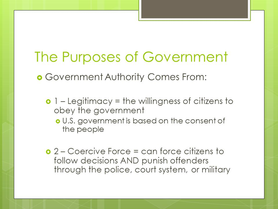 The Purposes of Government