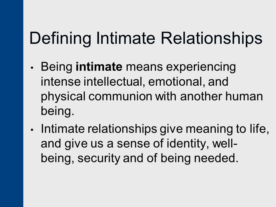 Defining Intimate Relationships