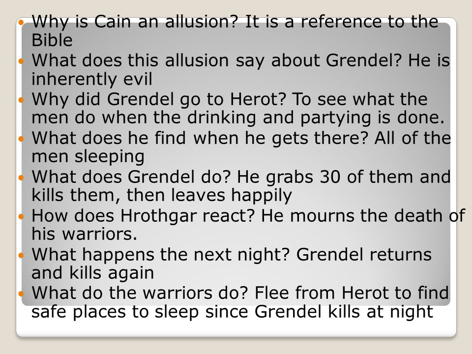 Why is Cain an allusion It is a reference to the Bible