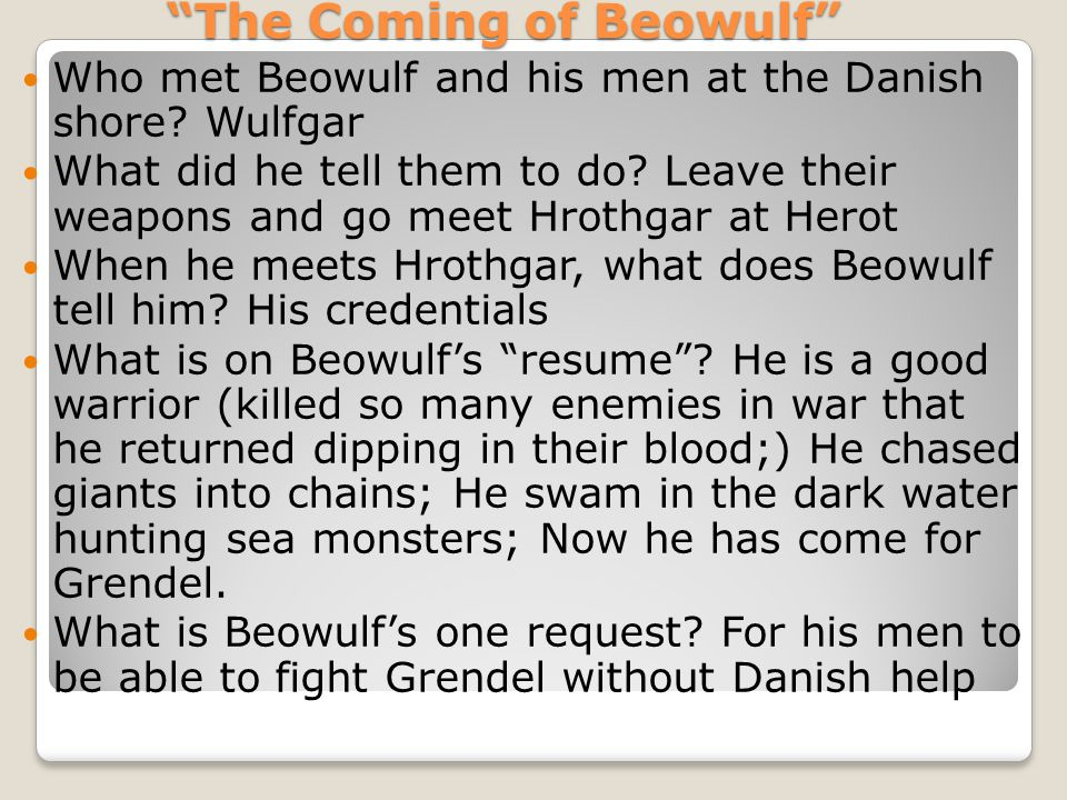 how does hrothgar know beowulf