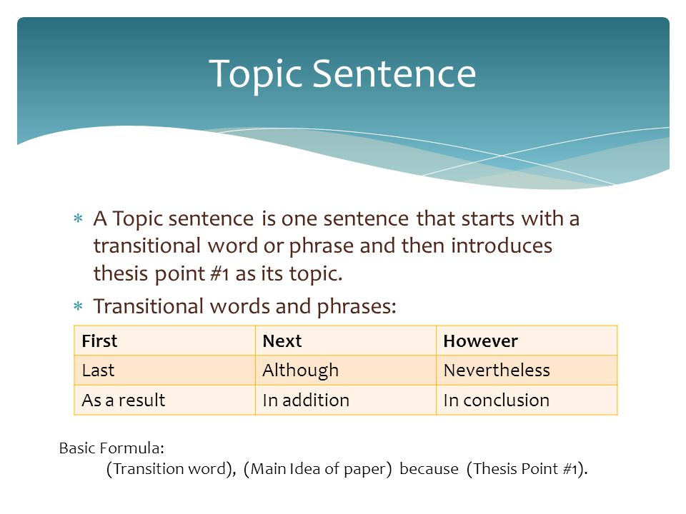 topic sentence words