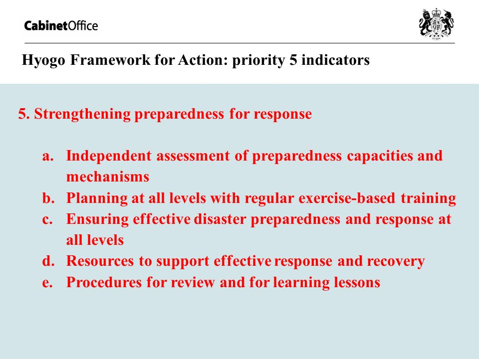 Hyogo Framework for Action: priority 5 indicators