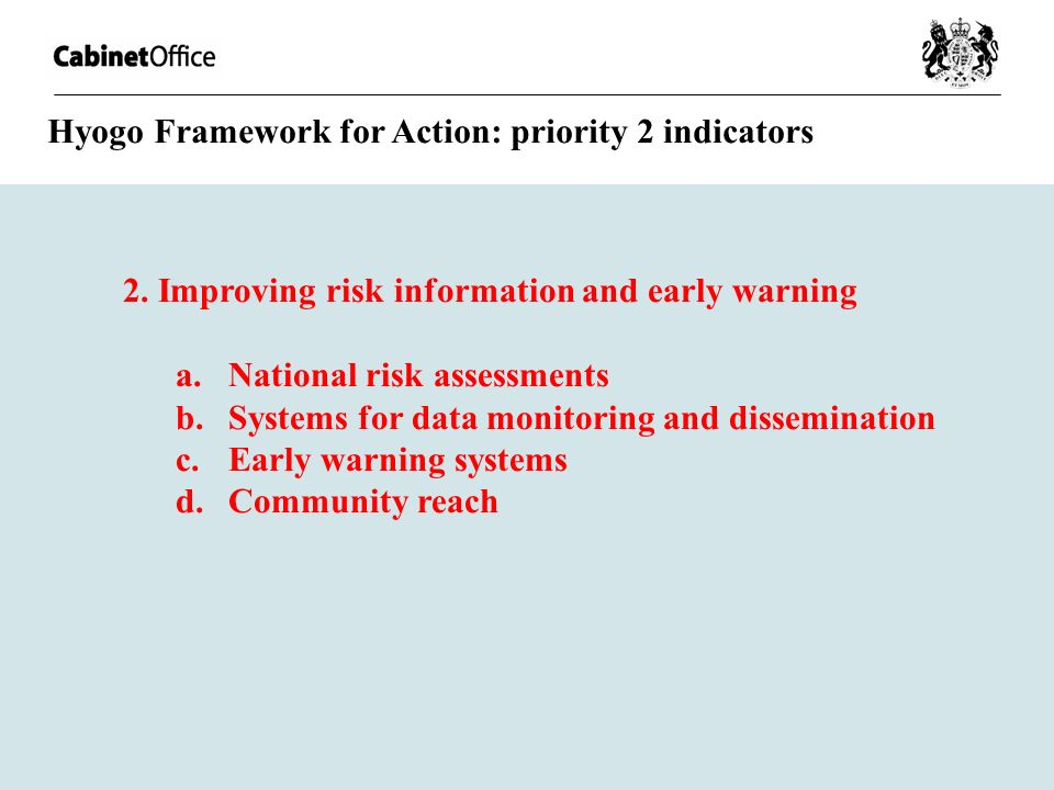 Hyogo Framework for Action: priority 2 indicators