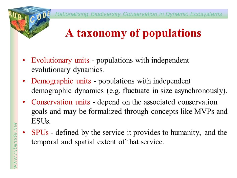 A taxonomy of populations