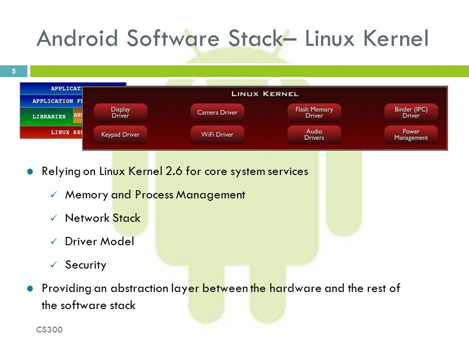 Android Software Stack– Linux Kernel