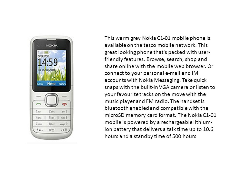 Jcb ppt download this warm grey nokia c1 01 mobile phone is available on the tesco mobile network urtaz Images