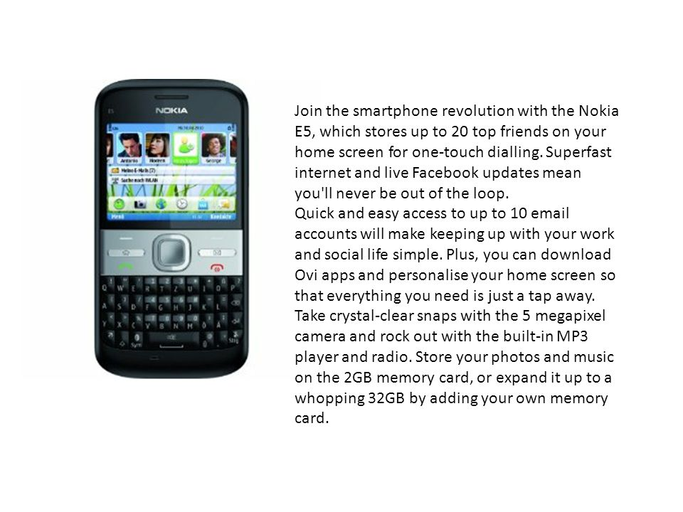 Jcb ppt download join the smartphone revolution with the nokia e5 which stores up to 20 top friends urtaz Images