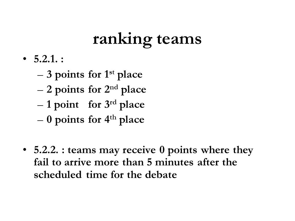 ranking teams : 3 points for 1st place 2 points for 2nd place