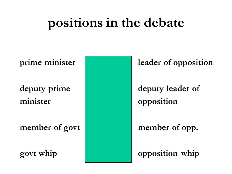 positions in the debate