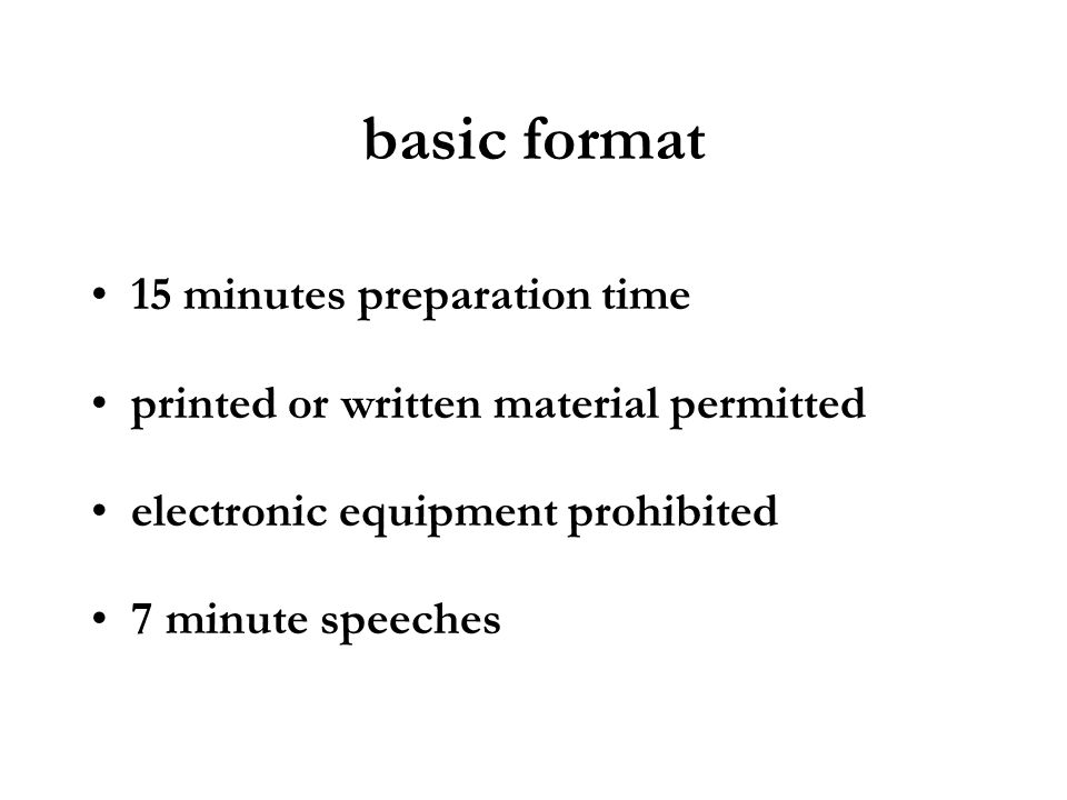 basic format 15 minutes preparation time