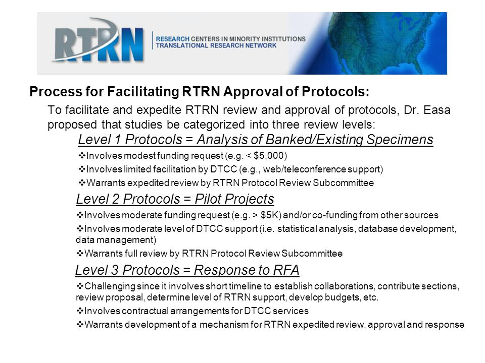 Process for Facilitating RTRN Approval of Protocols:
