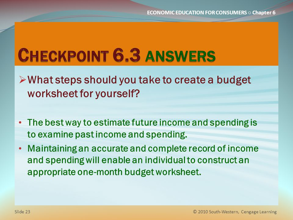 Chapter 6 budgeting how will you use your money ppt download checkpoint 63 answers what steps should you take to create a budget worksheet for yourself solutioingenieria Choice Image