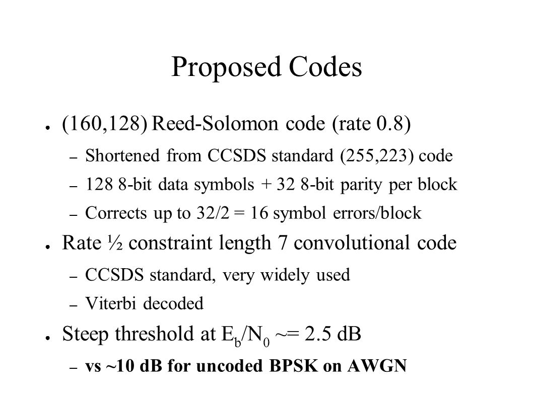 Proposed Codes (160,128) Reed-Solomon code (rate 0.8)