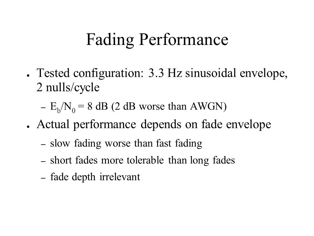 Fading Performance Tested configuration: 3.3 Hz sinusoidal envelope, 2 nulls/cycle. Eb/N0 = 8 dB (2 dB worse than AWGN)