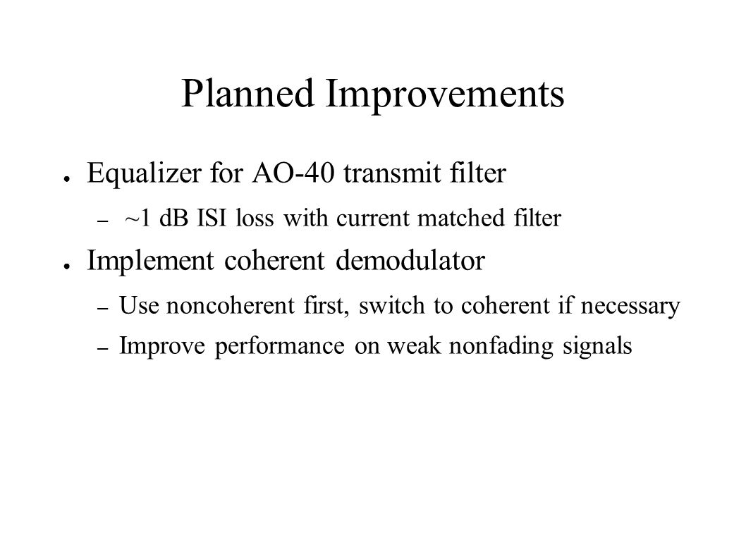 Planned Improvements Equalizer for AO-40 transmit filter