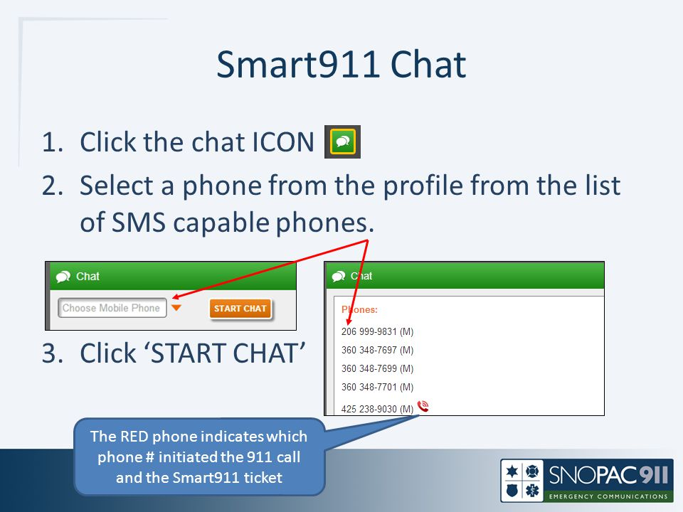 Smart911 Chat Click the chat ICON
