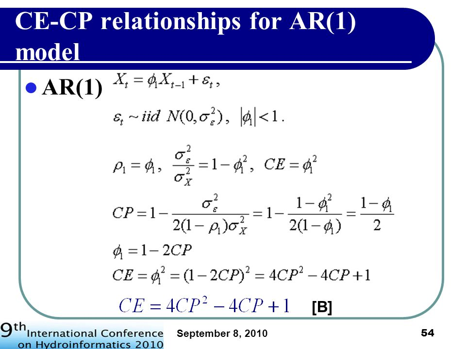 CE-CP relationships for AR(1) model