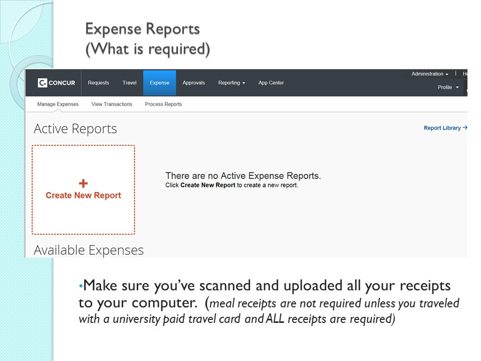 Expense Reports (What is required)