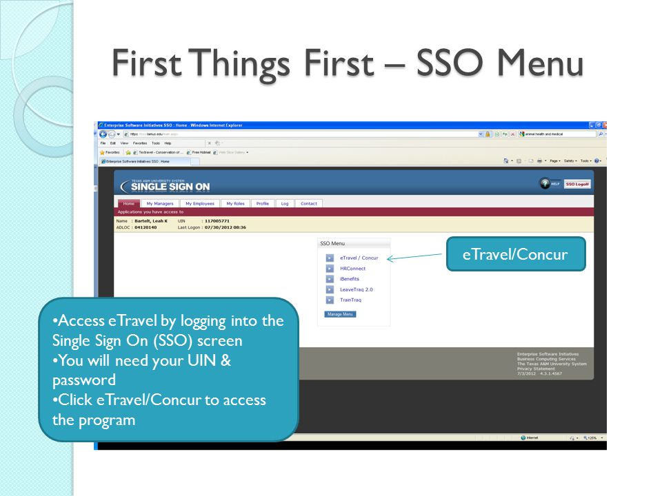 First Things First – SSO Menu