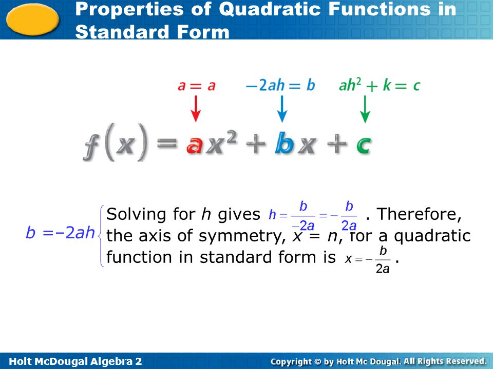 Properties Of Quadratic Functions In Standard Form Ppt Video