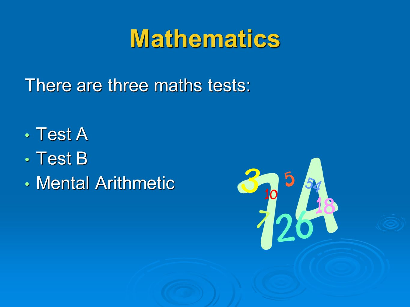 Mathematics There are three maths tests: Test A Test B