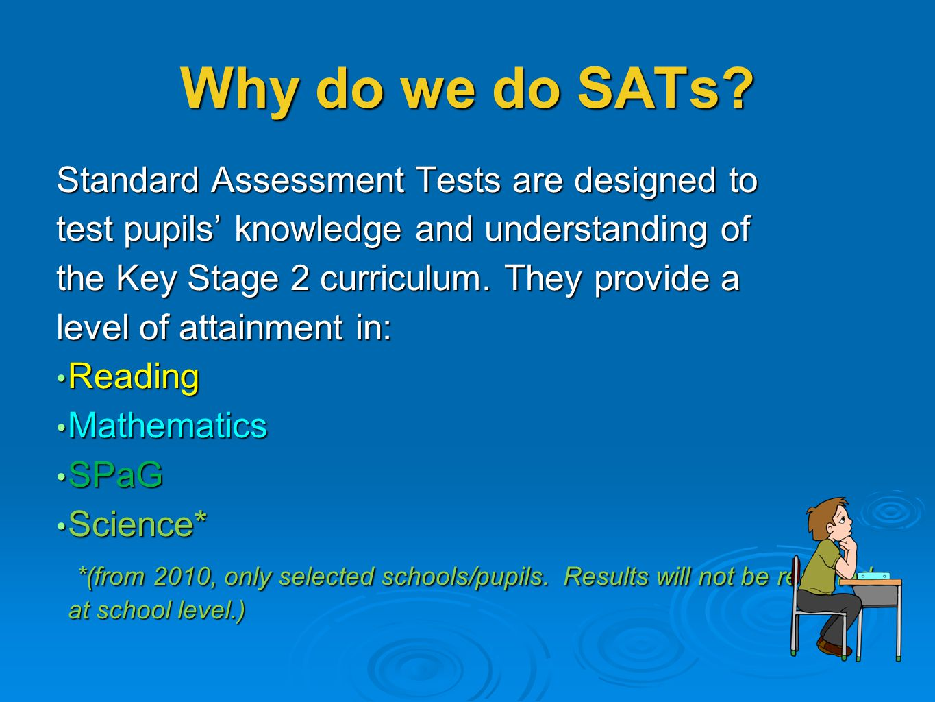 Why do we do SATs Standard Assessment Tests are designed to
