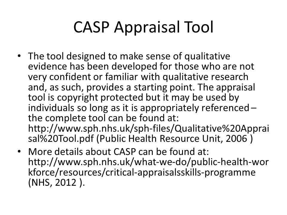 Critically reviewing qualitative papers using a CASP critiquing tool