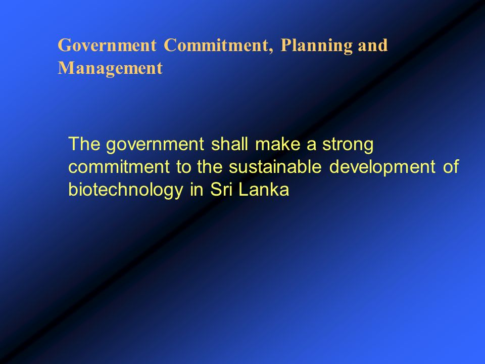 Government Commitment, Planning and Management
