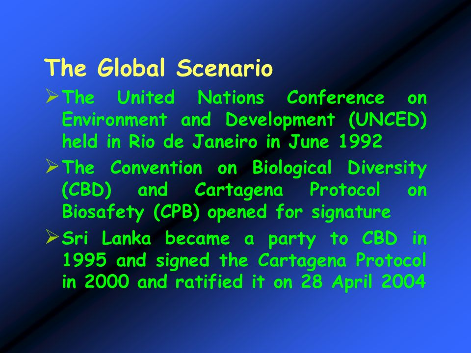 The Global Scenario The United Nations Conference on Environment and Development (UNCED) held in Rio de Janeiro in June 1992.