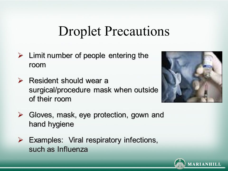 Droplet Precautions Limit number of people entering the room
