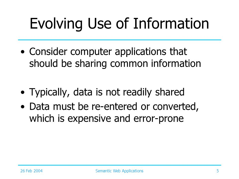 Evolving Use of Information