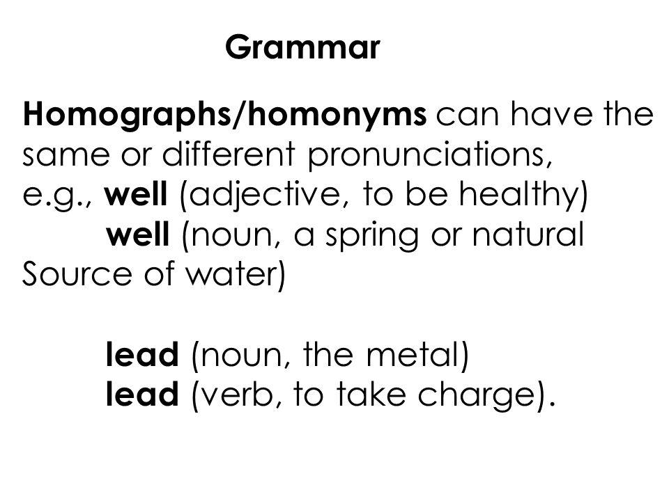 Grammar Homographshomonyms Homophones Goal For Lesson 10 Ppt