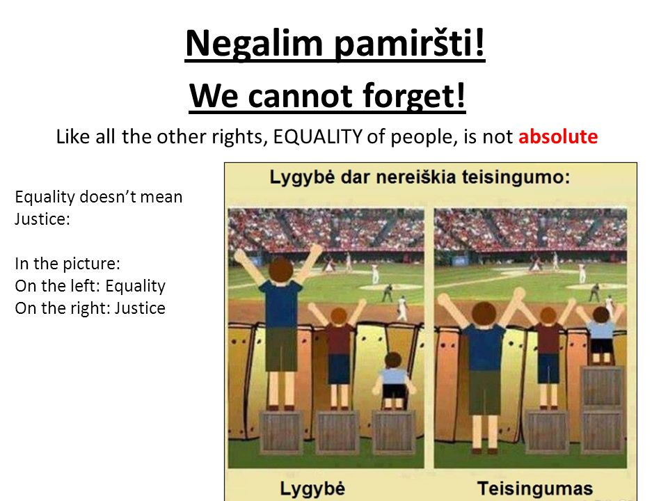 Equality Doesnt Mean Justice >> Maksimas Kozlineris 2014 Issues Of Equality According To The