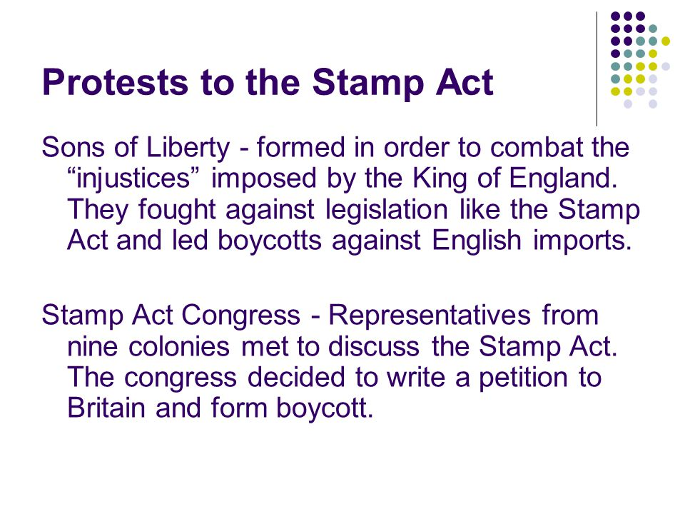Protests to the Stamp Act