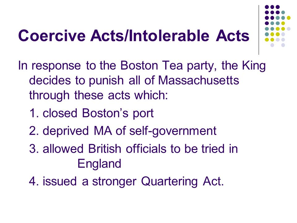 Coercive Acts/Intolerable Acts
